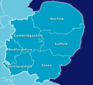 East Anglia Map - Norfolk, Suffolk, Cambridgeshire, Bedfordshire, Hertfordshire and Essex